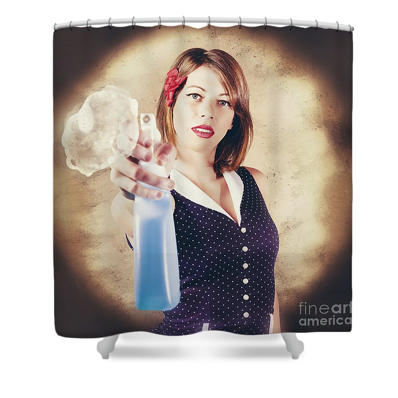 Cleaner Shower Curtain featuring the photograph Pump Action Pin Up Woman Killing Glass Grime by Jorgo Photography - Wall Art Gallery