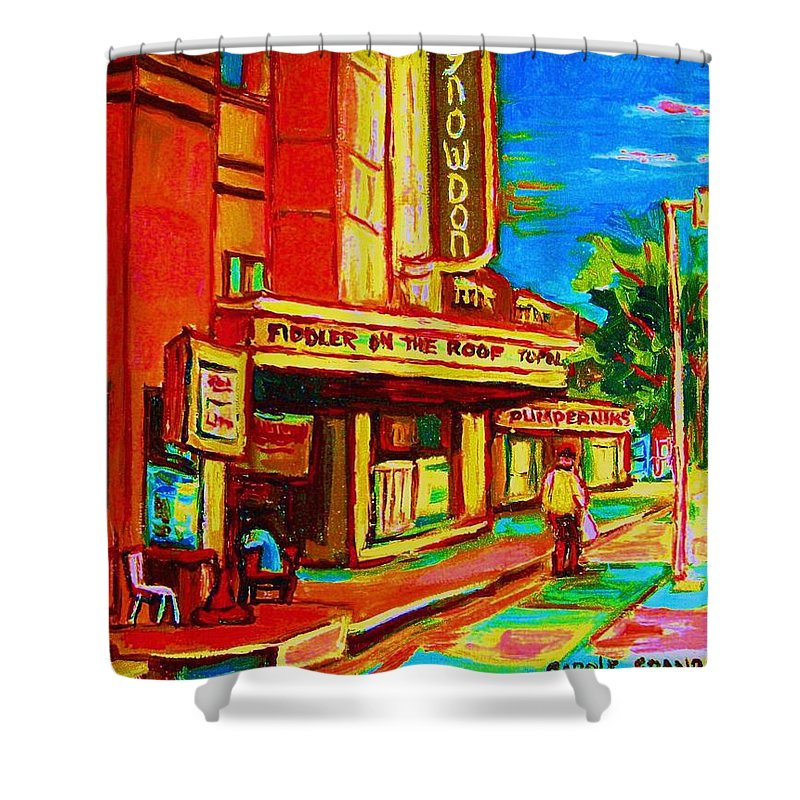Pumperniks Shower Curtain featuring the painting Pumperniks And The Snowdon Theatre by Carole Spandau