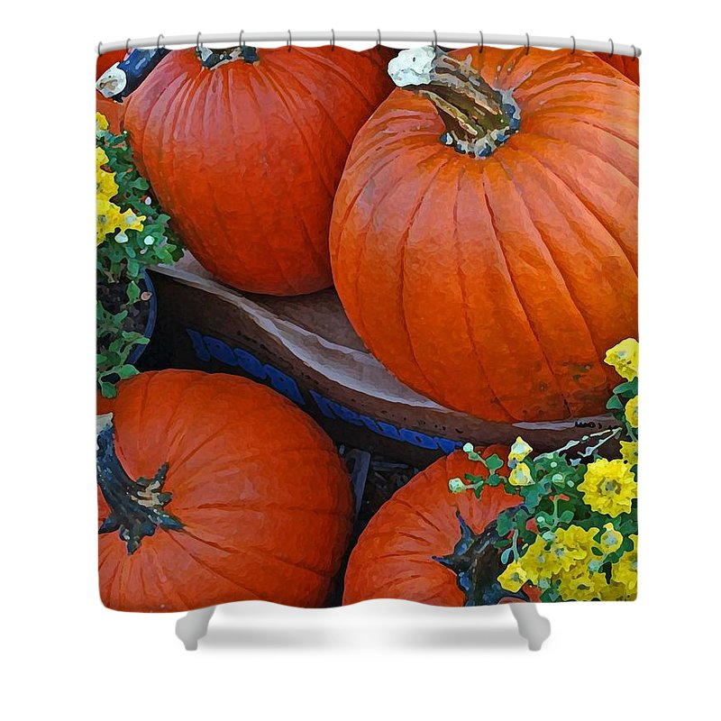 Shower Curtain featuring the photograph Pumpkin And Flowers by Michael Thomas
