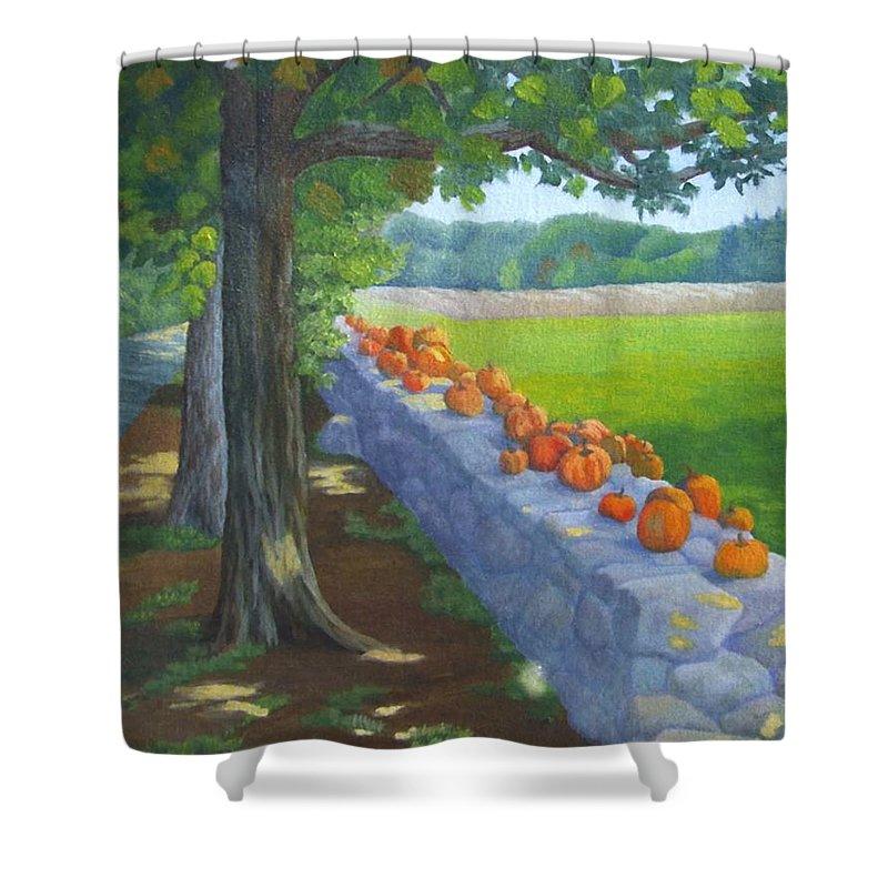 Pumpkins Shower Curtain featuring the painting Pumpkin Muster by Sharon E Allen