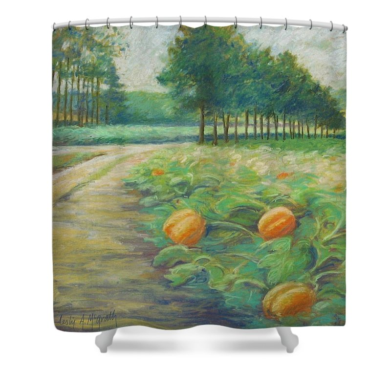 Alfred Shower Curtain featuring the pastel Pumpkin Patch by Leslie Alfred McGrath