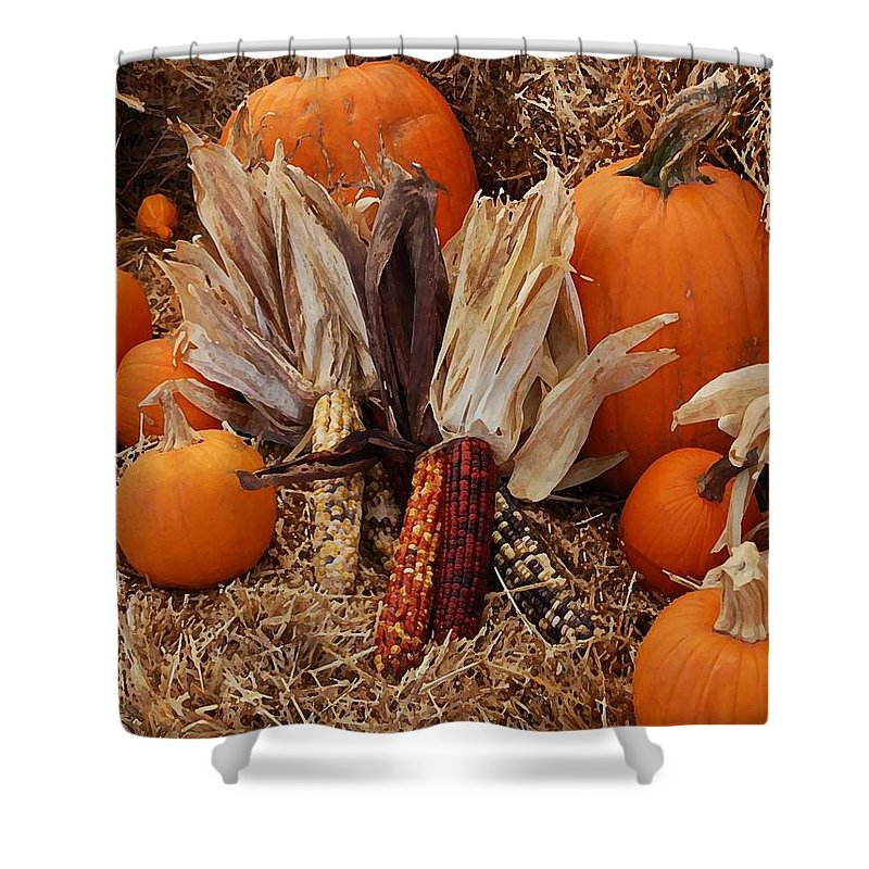 Shower Curtain featuring the photograph Pumpkins And Corn by Michael Thomas