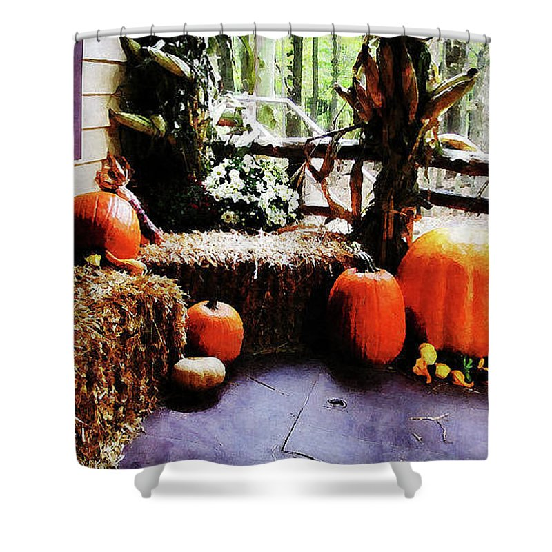 Autumn Shower Curtain featuring the photograph Pumpkins On Porch by Susan Savad