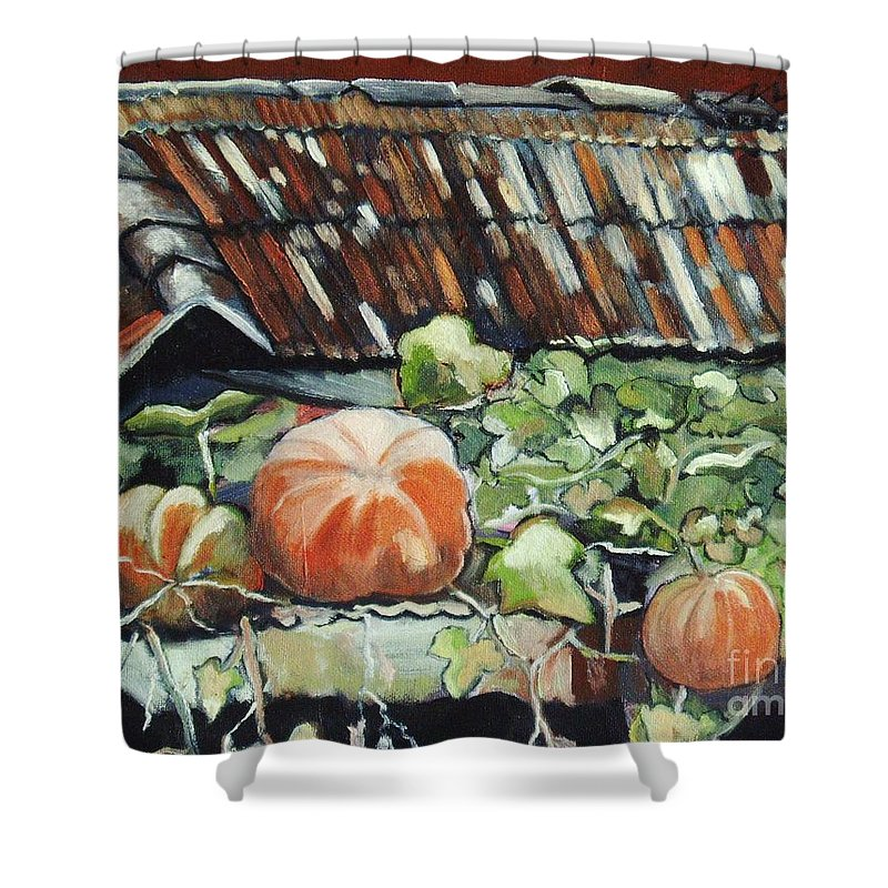 Pumpkin Paintings Shower Curtain featuring the painting Pumpkins On Roof by Seon-Jeong Kim