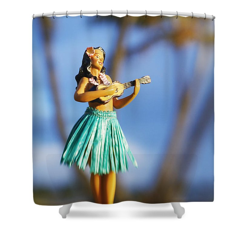 Beach Shower Curtain featuring the photograph Punaluu, Hula Doll by Greg Vaughn - Printscapes