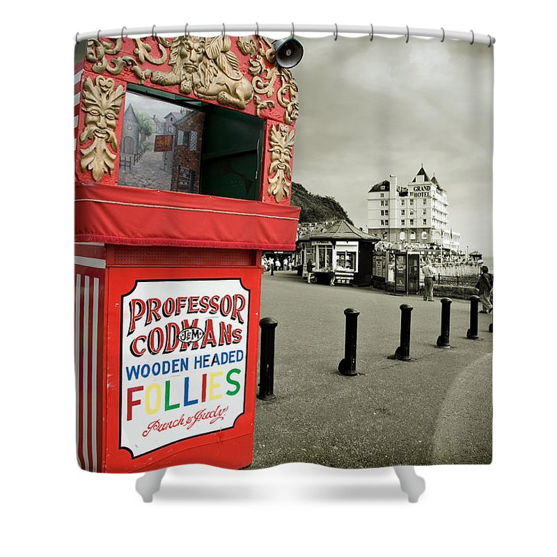 Punch And Judy Shower Curtain featuring the photograph Punch And Judy Theatre On Llandudno Promenade by Mal Bray
