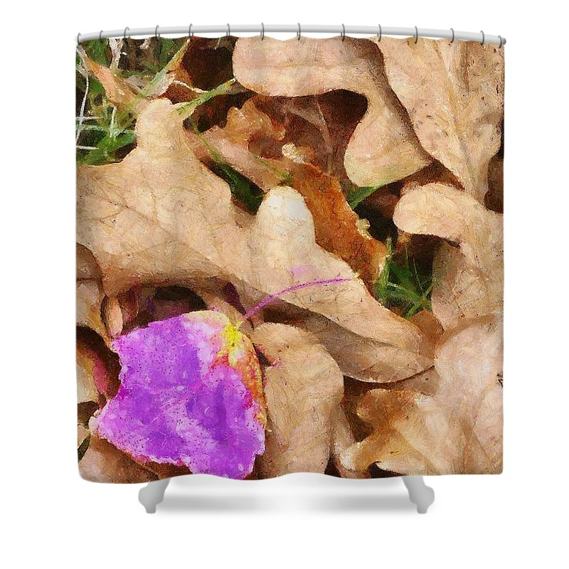 Purple Shower Curtain featuring the painting Punk Leaf by Jeffrey Kolker
