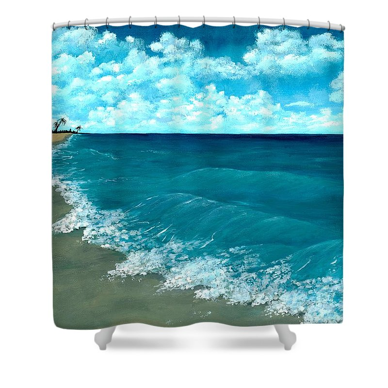 Blue Shower Curtain featuring the painting Punta Cana Beach by Anastasiya Malakhova