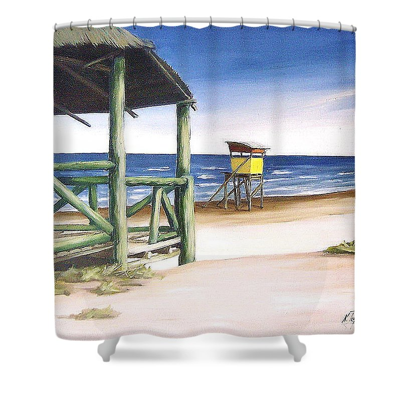 Seascape Beach Landscape Water Ocean Shower Curtain featuring the painting Punta Del Diablo S Morning by Natalia Tejera