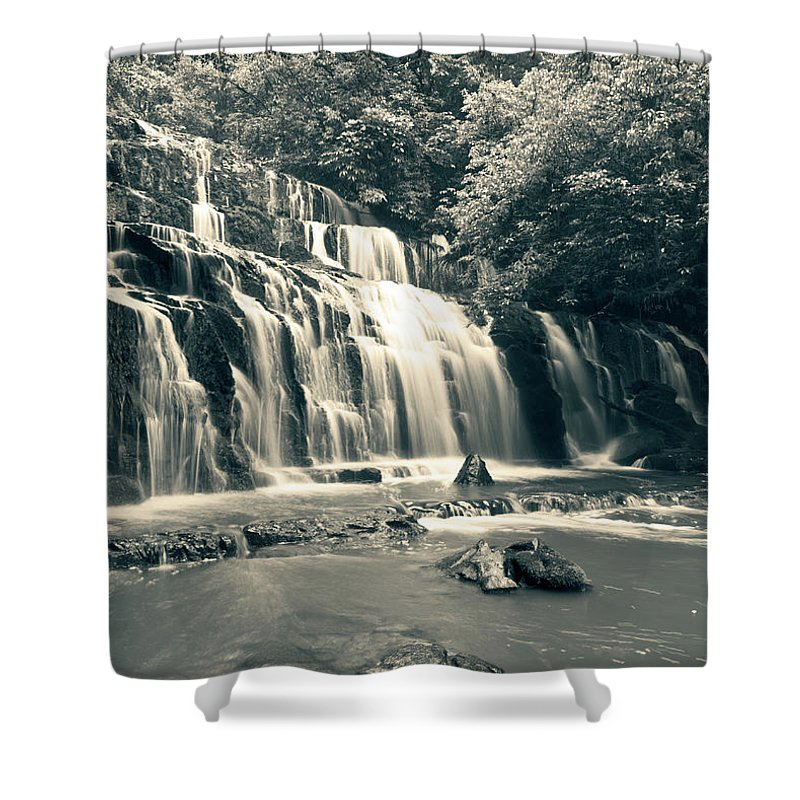 Purakanui Falls Shower Curtain featuring the photograph Purakanui Falls New Zealand by U Schade