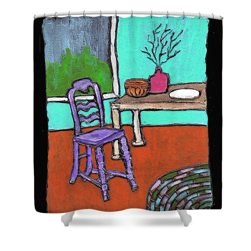 Purple Shower Curtain featuring the painting Purple Chair by Wayne Potrafka