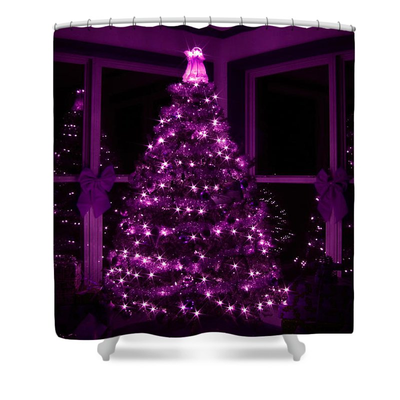 Christmas Tree Shower Curtain featuring the photograph Purple Christmas by Lori Deiter