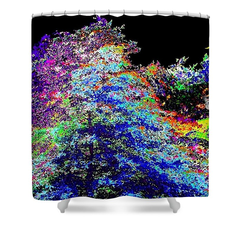 Abstract Shower Curtain featuring the digital art Purple Cottage by Will Borden