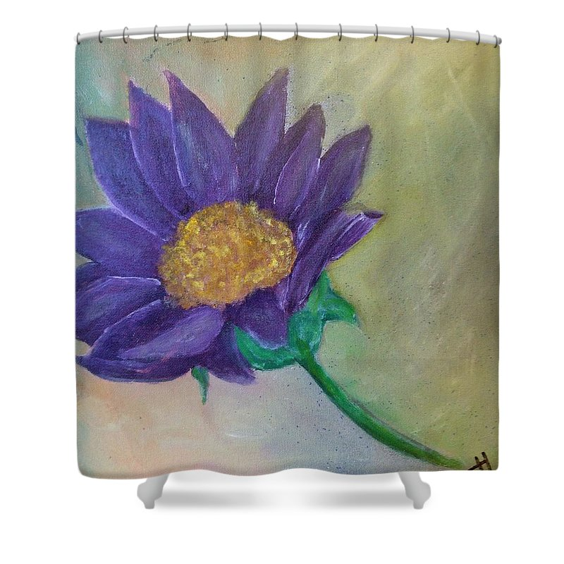 Daisy Shower Curtain featuring the painting Purple Daisy by Teresa Henry