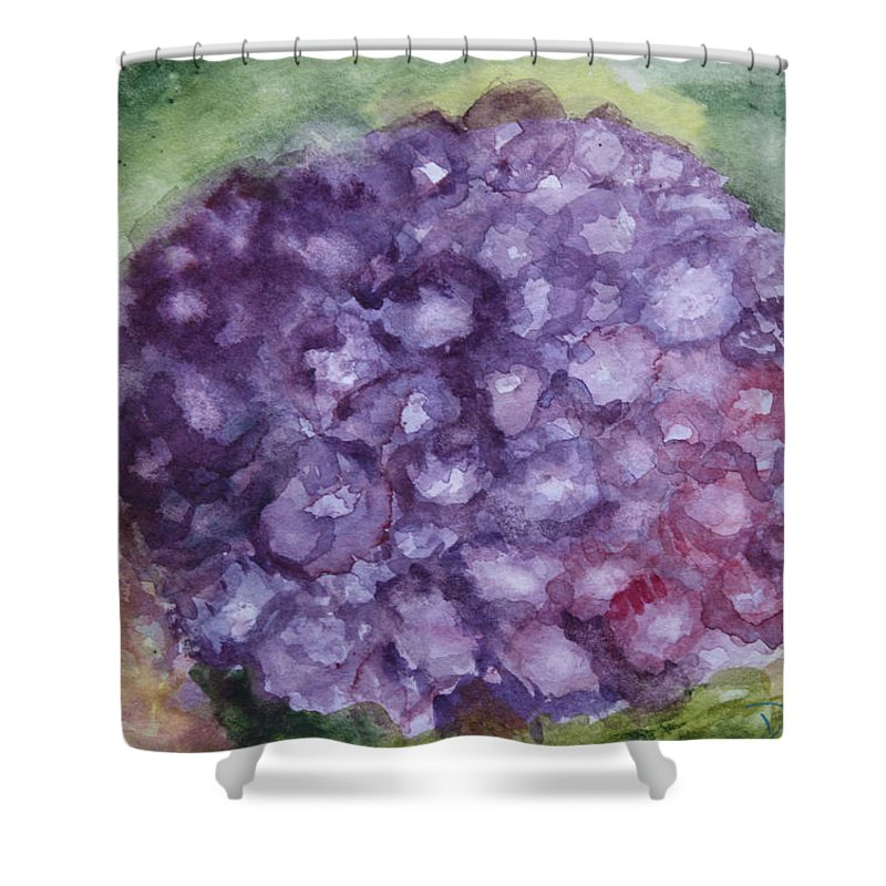 Purple Shower Curtain featuring the painting Purple Hydrangea by Donna Walsh