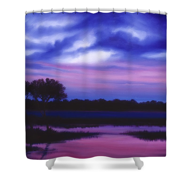 Sunrise Shower Curtain featuring the painting Purple Landscape Or Jean's Clearing by James Christopher Hill