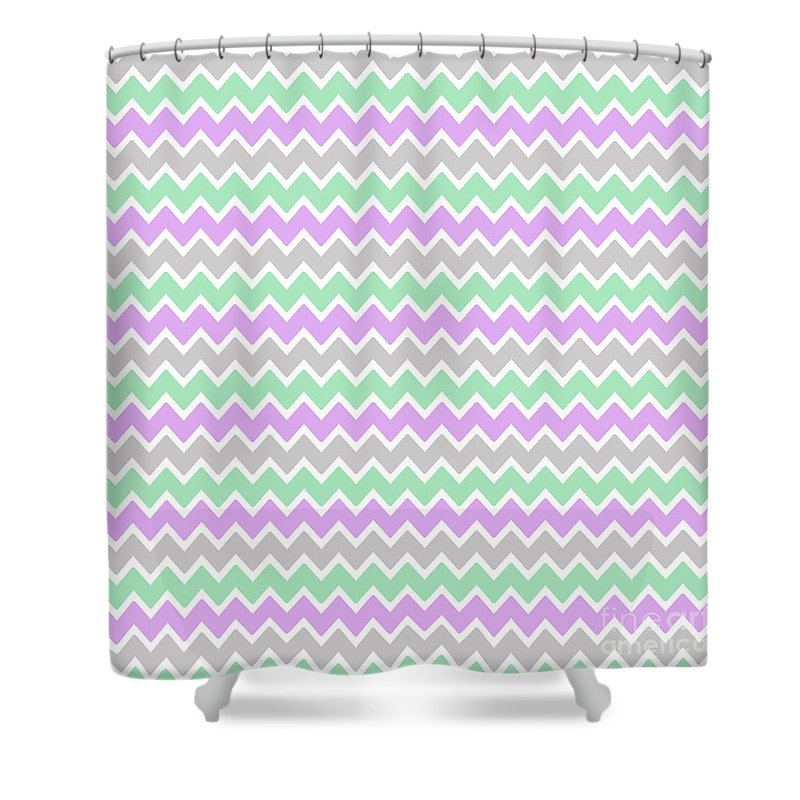 Purple Shower Curtain Featuring The Digital Art Lavender Mint Green And Grey Gray Chevron By