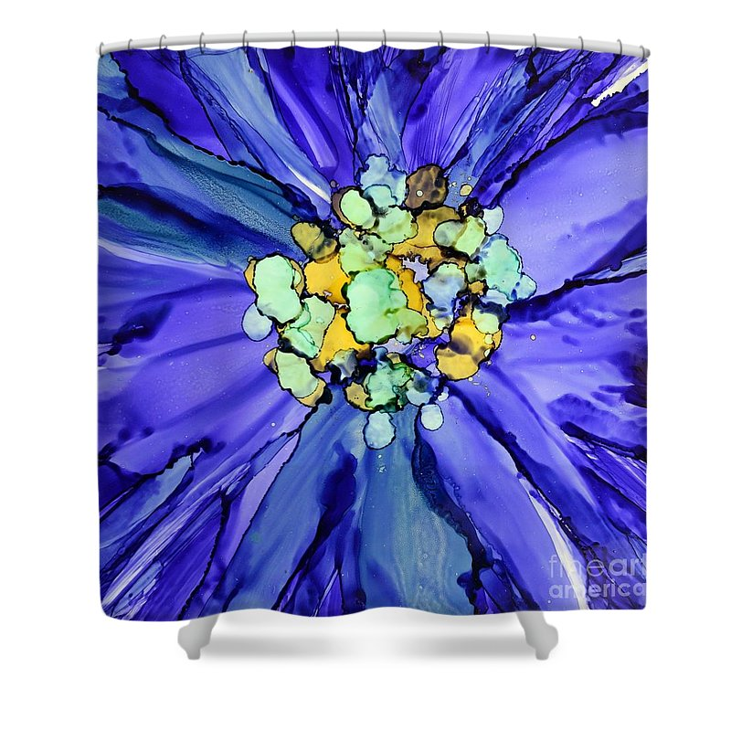Floral Shower Curtain featuring the painting Purple Macro Floral by Beth Kluth