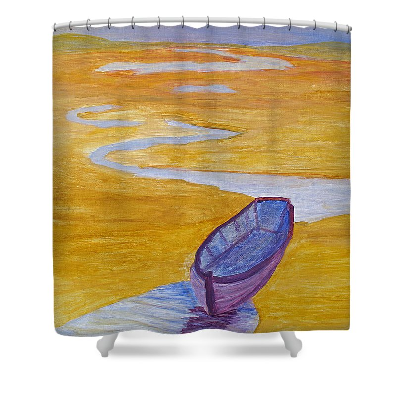 Marsh Shower Curtain featuring the painting Purple Marsh Boat by Barbara McDevitt