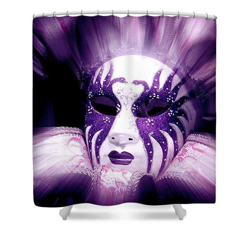 Purple Shower Curtain featuring the photograph Purple Mask Flash by Amanda Eberly-Kudamik