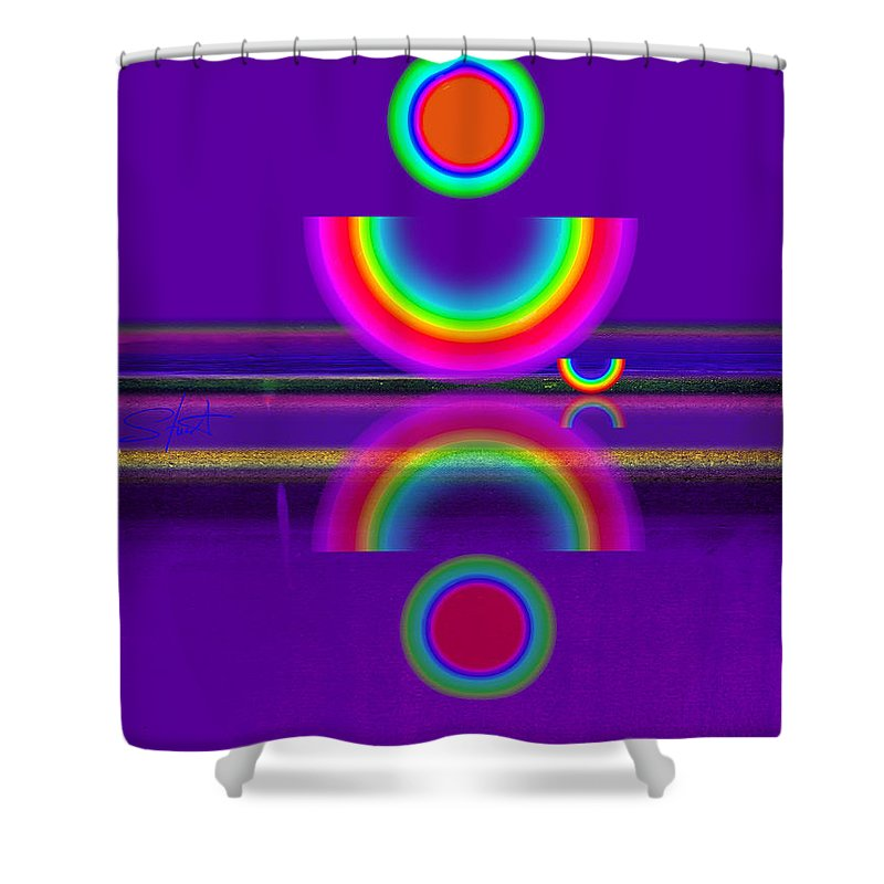 Reflections Shower Curtain featuring the painting Purple Moon by Charles Stuart