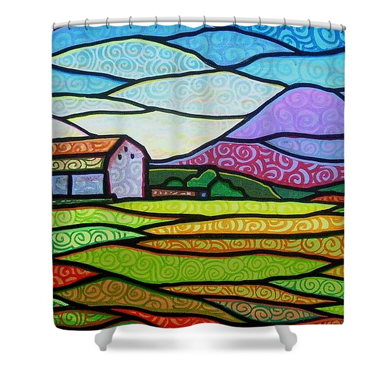Mountains Shower Curtain featuring the painting Purple Mountain Majesty by Jim Harris