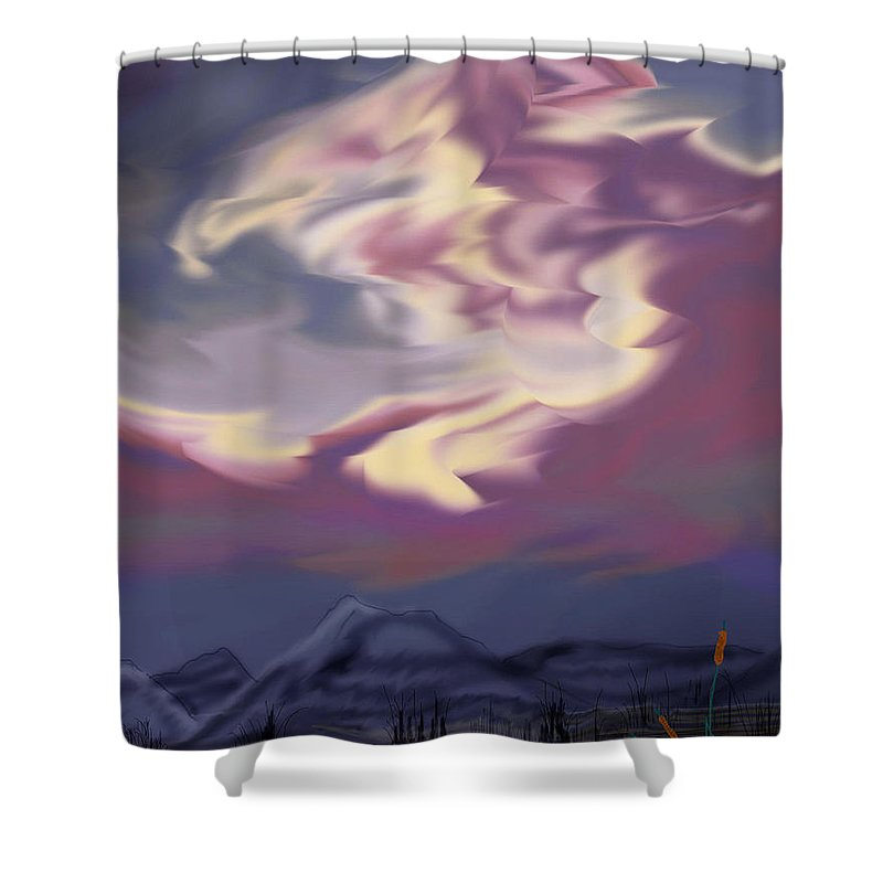 Clouds Shower Curtain featuring the painting Purple Mountain Majesty by Anne Norskog