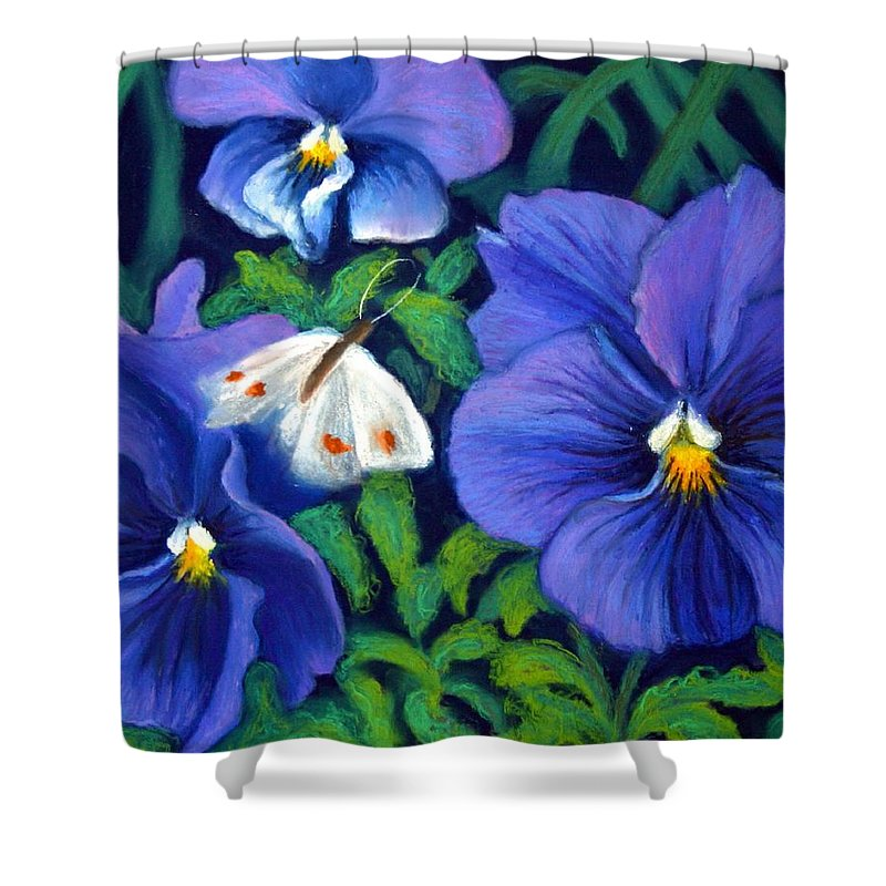 Pansy Shower Curtain featuring the painting Purple Pansies And White Moth by Minaz Jantz