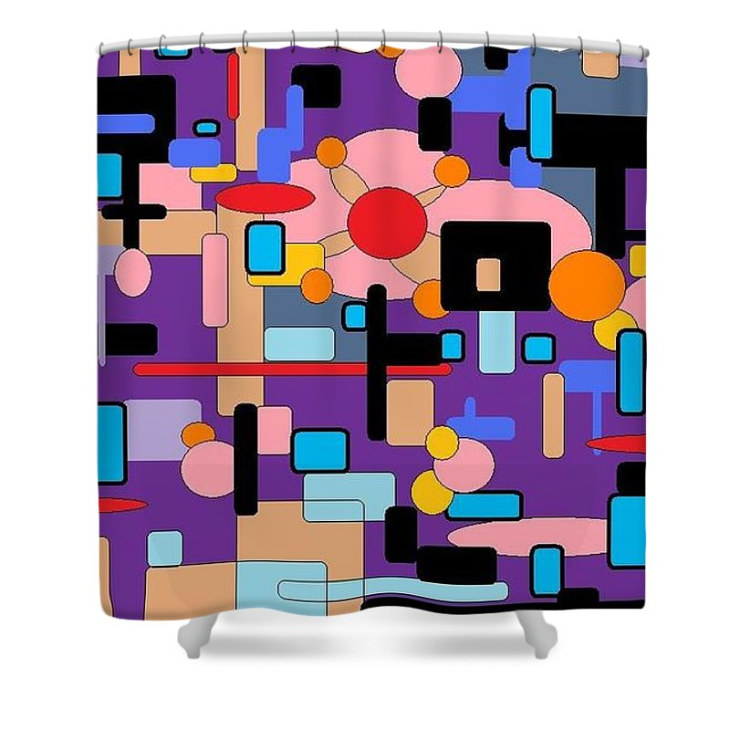 Abstract Digital Shower Curtain featuring the digital art Purple Passion by Jordana Sands