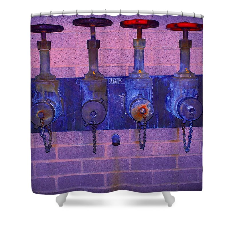 Photograph Shower Curtain featuring the photograph Purple Pipes by Thomas Valentine