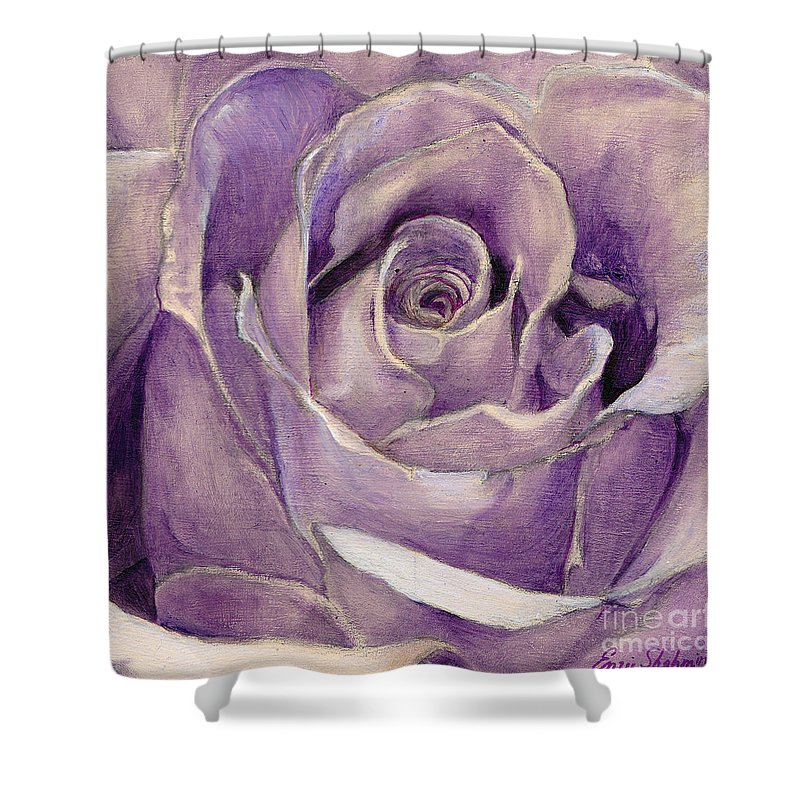 Rose Shower Curtain featuring the painting Purple Rose by Portraits By NC