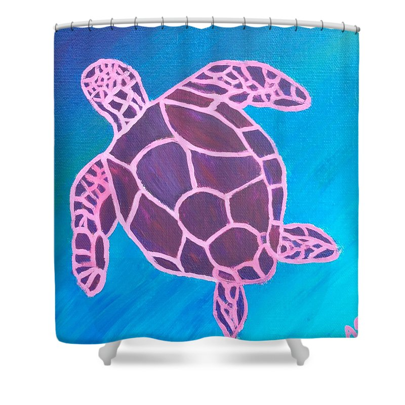 Shower Curtain featuring the painting Purple Turtle by Annie Gigon