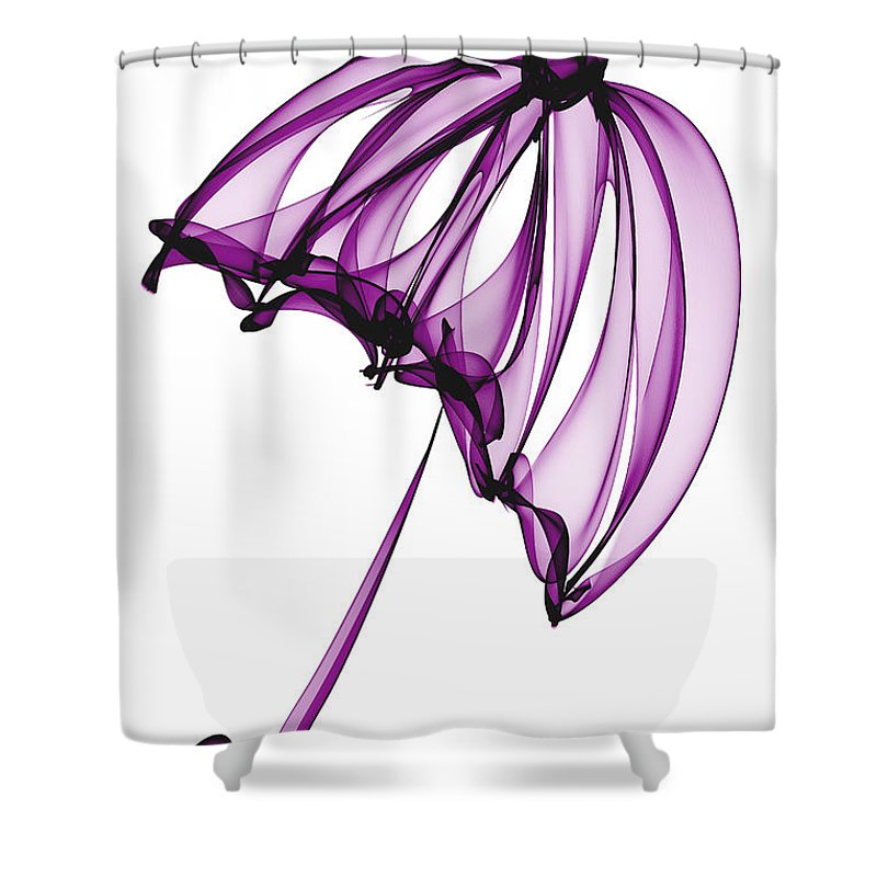 Purple Shower Curtain featuring the digital art Purple Umbrella by Ann Garrett