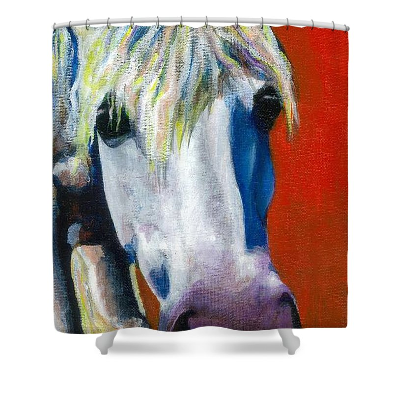 White Horse With Purple Nose Shower Curtain featuring the painting Purple Velvet by Frances Marino