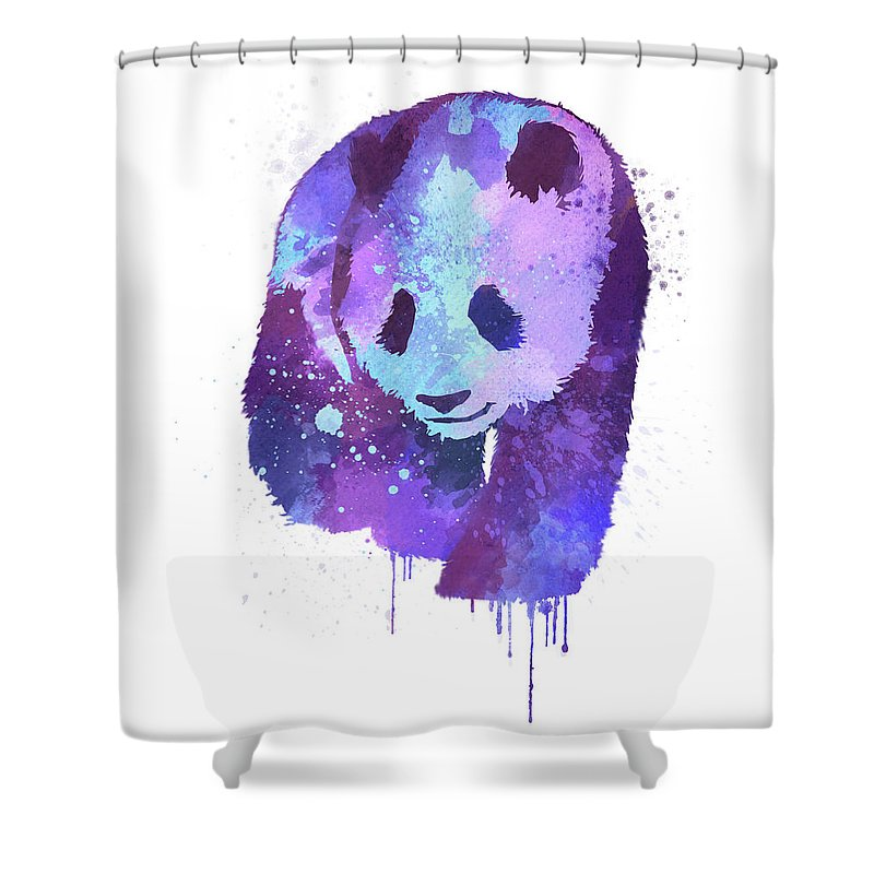 Watercolor Panda Shower Curtain Featuring The Digital Art Purple By Thubakabra
