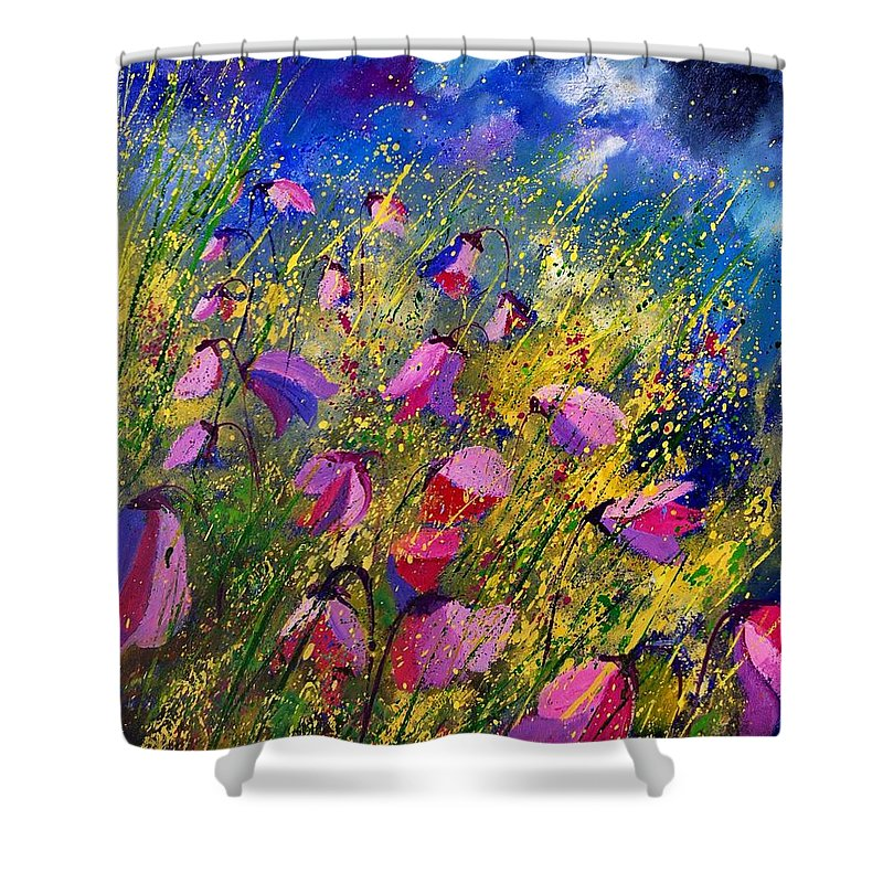 Poppies Shower Curtain featuring the painting Purple Wild Flowers by Pol Ledent