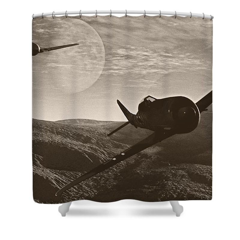 Dogfight Shower Curtain featuring the digital art Pursuit Of The Fox by Richard Rizzo