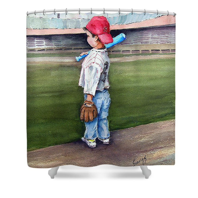 Baseball Shower Curtain featuring the painting Put Me In Coach by Sam Sidders