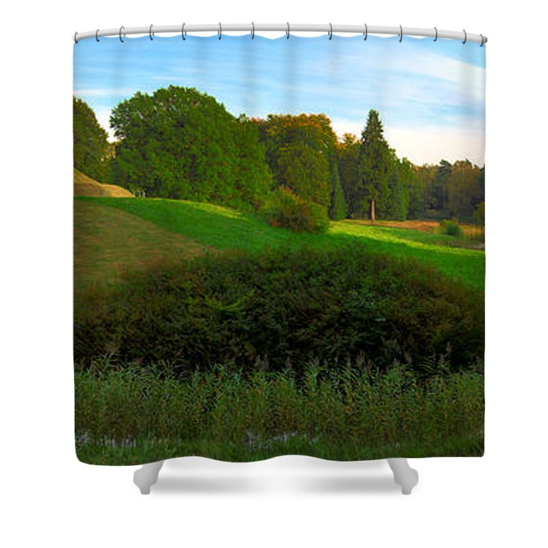 Landscape Park Shower Curtain featuring the photograph Pyramid In The Pueckler Park by Sun Travels