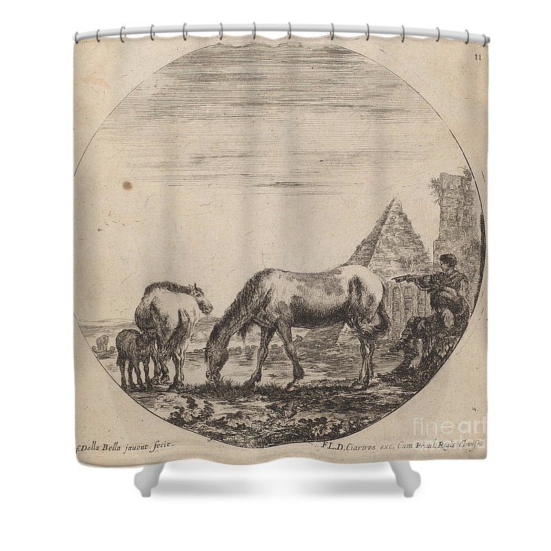 Shower Curtain featuring the drawing Pyramid Of Caius Cestius by Stefano Della Bella