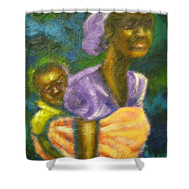Mother And Child Shower Curtain featuring the painting Safe And Secure by Jan Gilmore
