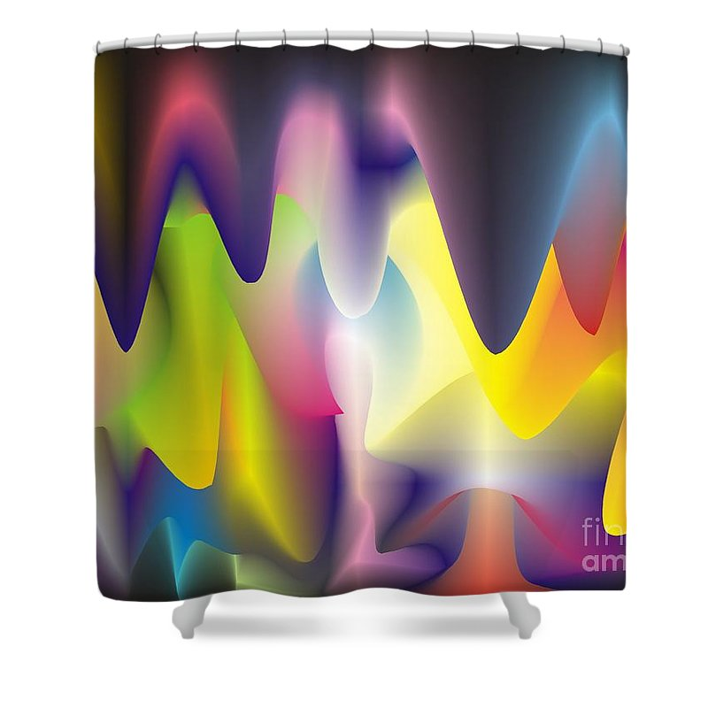 Abstract Shower Curtain featuring the digital art Quantum Landscape 6 by Walter Oliver Neal