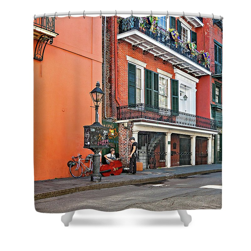French Quarter Shower Curtain featuring the photograph Quarter Time by Steve Harrington