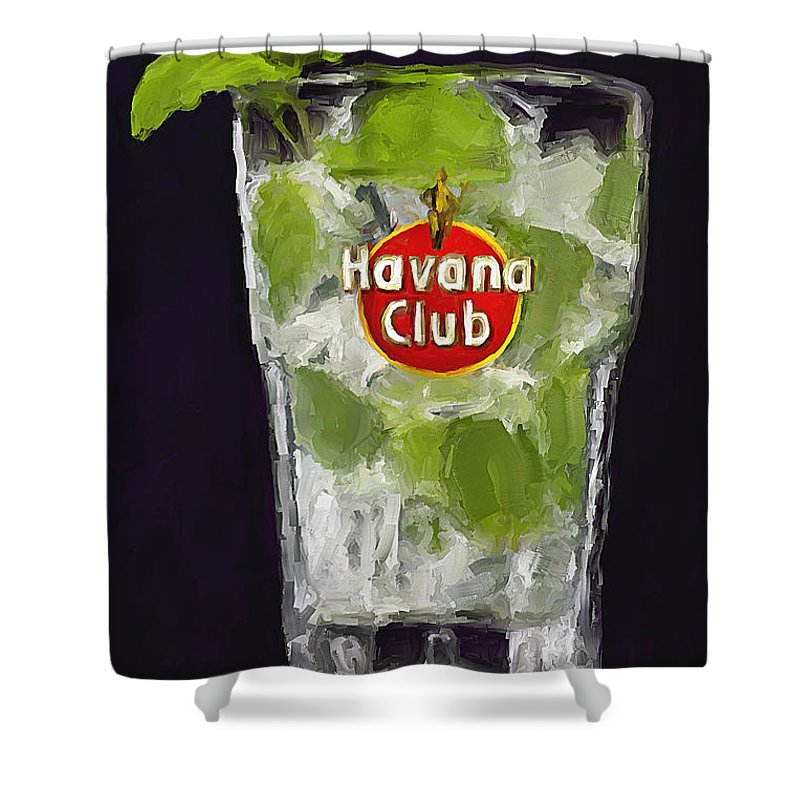 Havana Shower Curtain featuring the painting Que Rico by Sergio B