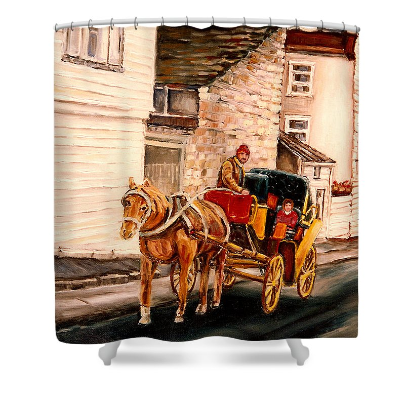 Quebec City Carriage Ride Shower Curtain featuring the painting Quebec City Carriage Ride by Carole Spandau