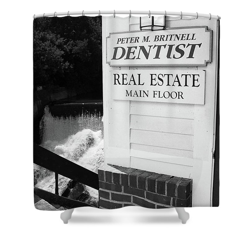 America Shower Curtain featuring the photograph Quechee, Vermont - Falls Storefront 2006 Bw by Frank Romeo