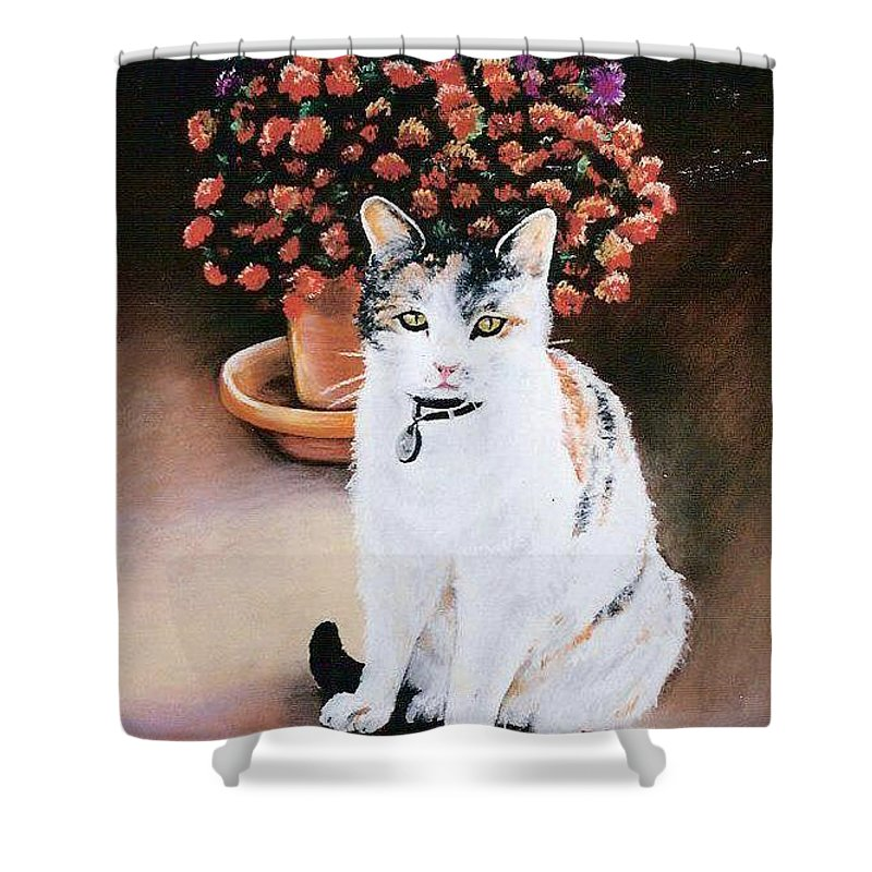 Cat Shower Curtain featuring the pastel Queen Marishka by Gale Cochran-Smith
