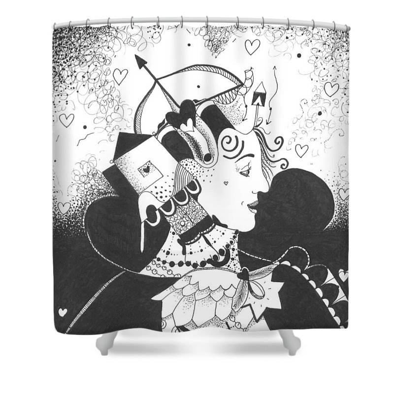 Dark Humor Shower Curtain featuring the drawing Queen Of Hearts Aka If She Only Had A Heart by Helena Tiainen