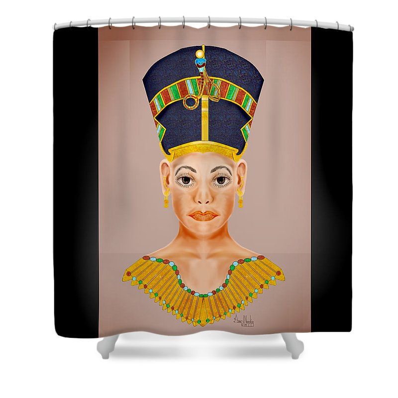 Portrait Shower Curtain featuring the painting Queen Of The Nile by Anne Norskog