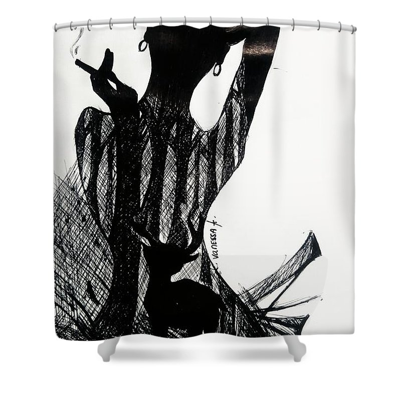 Shower Curtain featuring the drawing Queen by Vanessa Agsangre